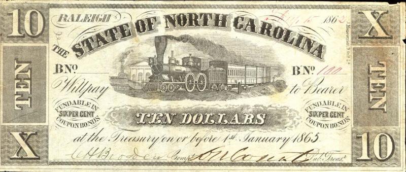 North Carolina 10-dollar note, 1862
