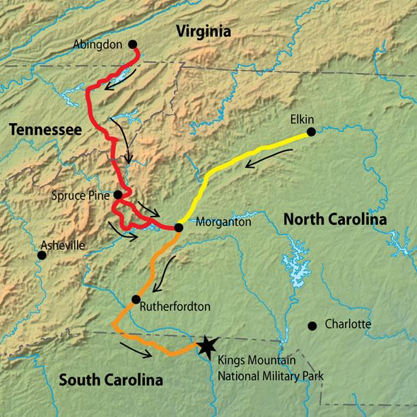 Routes to the Battle of Kings Mountain, 1780