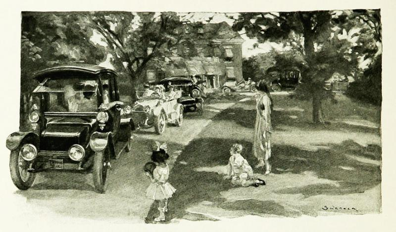 "<img typeof=""foaf:Image"" src=""http://statelibrarync.org/learnnc/sites/default/files/images/p222.jpg"" width=""883"" height=""518"" alt=""Cars leaving a suburban home, 1915"" title=""Cars leaving a suburban home, 1915"" />"