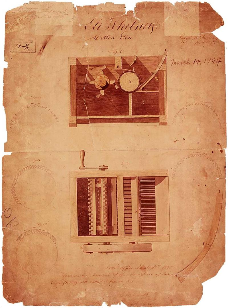 Drawings of cotton gin from Eli Whitney's patent application