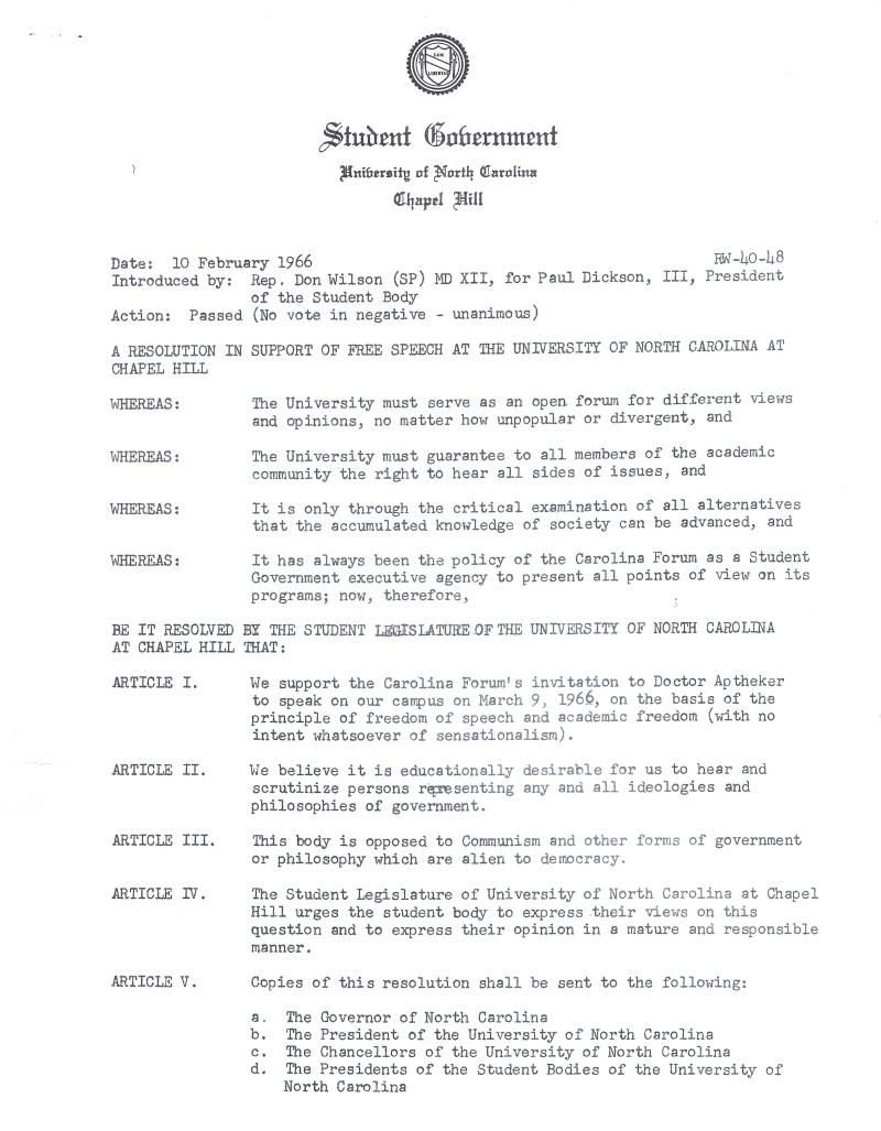 Resolution in Support of Free Speech from Student Government, Page 1