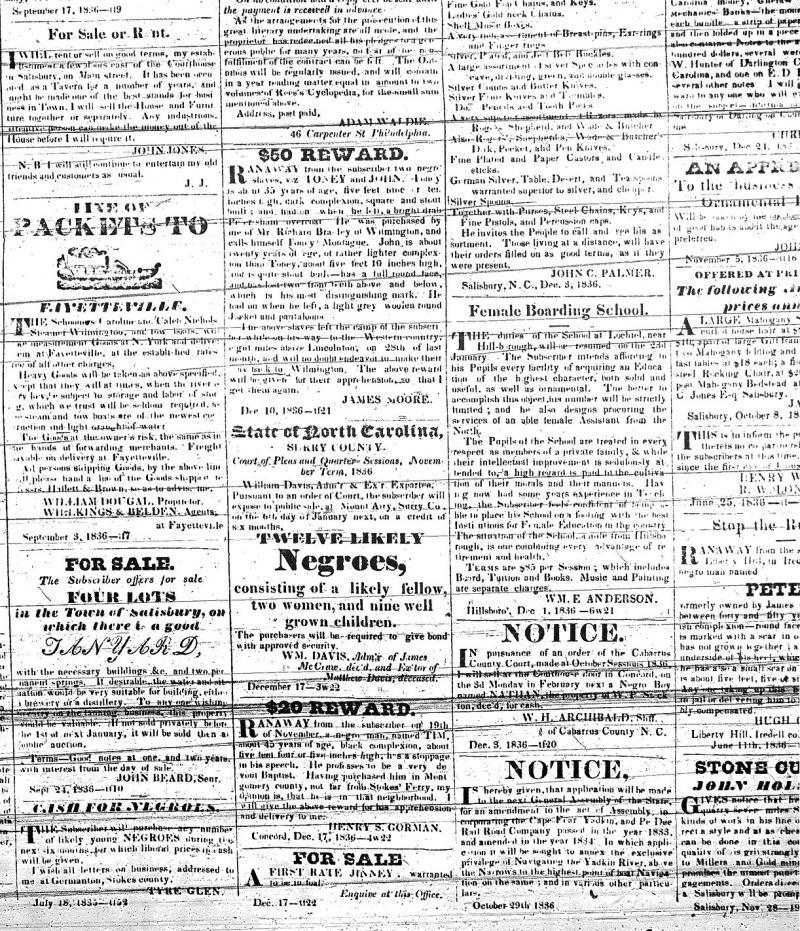 Carolina Watchman ads: January 7, 1837