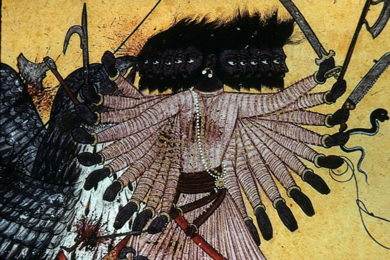 "<img typeof=""foaf:Image"" src=""http://statelibrarync.org/learnnc/sites/default/files/images/thai_rama_084.jpg"" width=""1024"" height=""683"" alt=""Twenty-armed Ravana fights eagle king Sadayu on Indian painting"" title=""Twenty-armed Ravana fights eagle king Sadayu on Indian painting"" />"