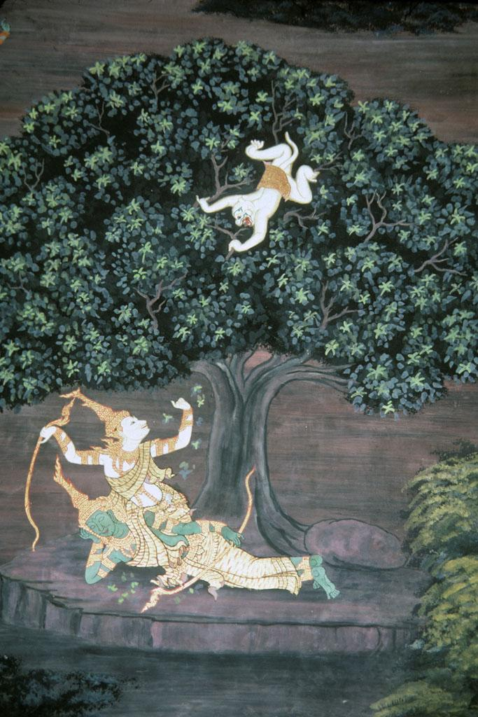 "<img typeof=""foaf:Image"" src=""http://statelibrarync.org/learnnc/sites/default/files/images/thai_rama_095.jpg"" width=""683"" height=""1024"" alt=""Monkey god Hanuman in tree approaches Rama and Laksman"" title=""Monkey god Hanuman in tree approaches Rama and Laksman"" />"