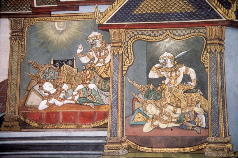 "<img typeof=""foaf:Image"" src=""http://statelibrarync.org/learnnc/sites/default/files/images/thai_rama_102.jpg"" width=""1024"" height=""683"" alt=""Hanuman looks for Sita in bedrooms of Ravana's palace"" title=""Hanuman looks for Sita in bedrooms of Ravana's palace"" />"