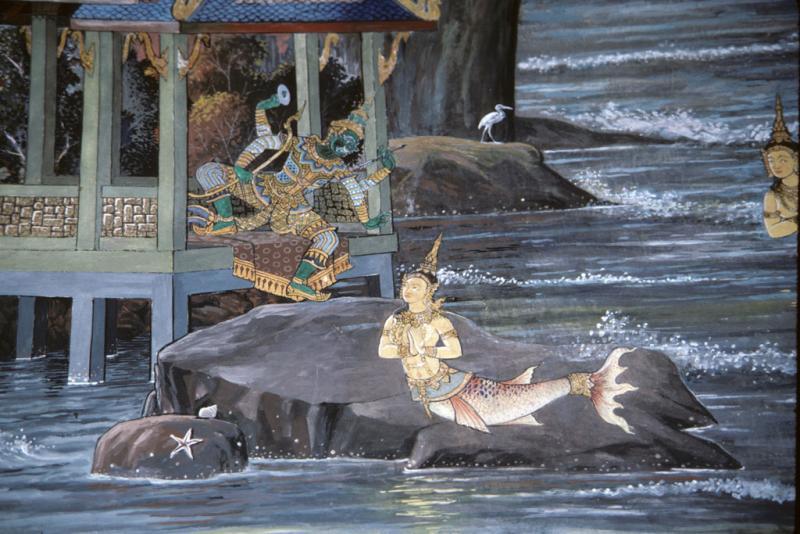"<img typeof=""foaf:Image"" src=""http://statelibrarync.org/learnnc/sites/default/files/images/thai_rama_129.jpg"" width=""1024"" height=""683"" alt=""Ravana instructs mermaid daughter to ruin Rama's bridge"" title=""Ravana instructs mermaid daughter to ruin Rama's bridge"" />"