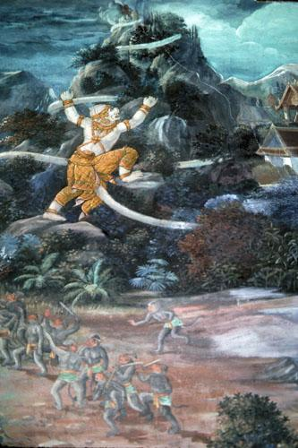 "<img typeof=""foaf:Image"" src=""http://statelibrarync.org/learnnc/sites/default/files/images/thai_rama_150.jpg"" width=""333"" height=""500"" alt=""Hanuman climbs mountain for herbal medicines"" title=""Hanuman climbs mountain for herbal medicines"" />"