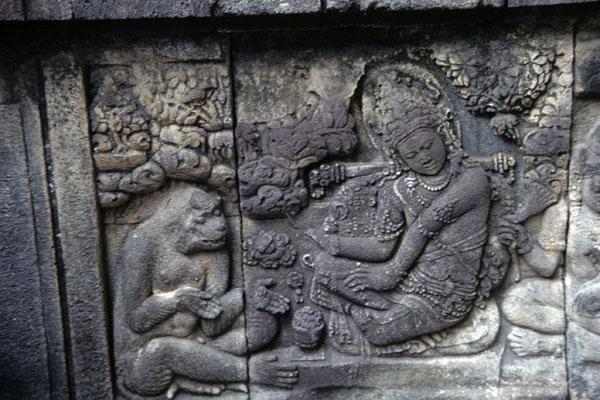 "<img typeof=""foaf:Image"" src=""http://statelibrarync.org/learnnc/sites/default/files/images/thai_rama_187.jpg"" width=""600"" height=""400"" alt=""Stone stele at Prambanan Temple shows Sita sitting with monkey"" title=""Stone stele at Prambanan Temple shows Sita sitting with monkey"" />"