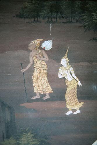 Sita walks with hermit (Thai Ramayana mural) | NCpedia