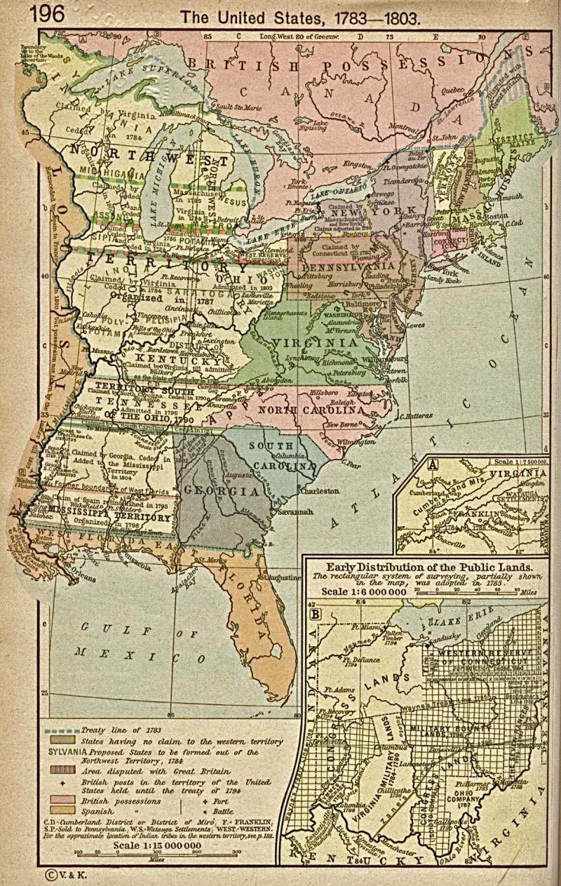Map Of The United States 1783 1803 Showing The State Of Franklin