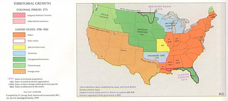 U.S. territorial growth, 1820 | NCpedia