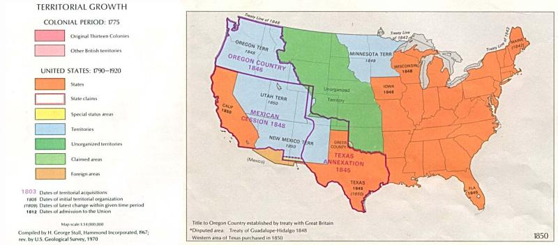 U.S. territorial growth, 1850