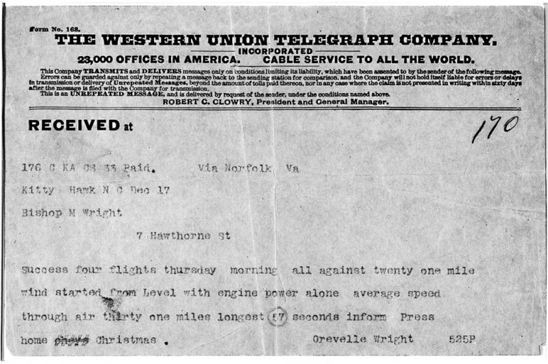 Telegram announcing the first successful powered flight