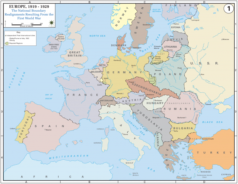 europe with national boundaries map Europe after the Treaty of Versailles, 1919 | NCpedia