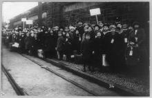 Strike in Lawrence, Massachusetts, with children posed on sidewalk