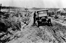 Automobile stuck in the mud