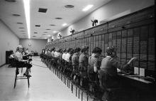 This is an image of females working at at telephone switchboard at the Capitol, Washington, DC, 1959.