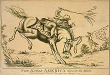 """This is an image of a horse throwing its rider, King George III. It is titled """"The horse America, throwing his master."""" The etching represents the sentiment that the colonies' desire to """"throw off"""" British Colonial rule was akin to a horse throwing its master. (1779 print from Library of Congress, British Cartoon Prints Collection.)"""