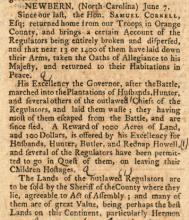 Image of an excerpt from the original publication of the Boston-Gazette, and Country Journal, July 15, 1771.  The paper published an account of the prosecution and execution of Regulators after their defeat at the Battle of Alamance on May 16, 1771. This paper is in the collections of the Massachusetts Historical Society.