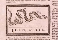 """Join or Die,"" illustration attributed to Benjamin Franklin and originally published in The Pennsylvania Gazette on May 9, 1754.  The illustration represented the peril of the British colonies not uniting against the French and Indians during the French and Indian War. The illustration was used again during the American Revolution to urge colonists to unite against the British, and it was republished in many newspapers."
