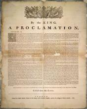 Image of the Royal Proclamation of 1763. The Proclamation was made by King George III of England.  The proclamation established rules for colonial settlement in the Indian territories. It claimed the land for the Crown and forbid colonists from settling land without treaties with tribes. This image comes from the original item in the collection of the Library and Archives of Canada.