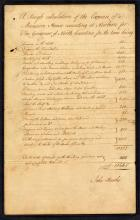 Image of John Hawks' itemization of the cost of creating the Governor's Palace at New Bern, 1767.  John Hawks was the architect of the mansion. Image from the Colonial Governors' Papers, State Archives of North Carolina.
