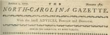Masthead from the North Carolina Gazette, 1777