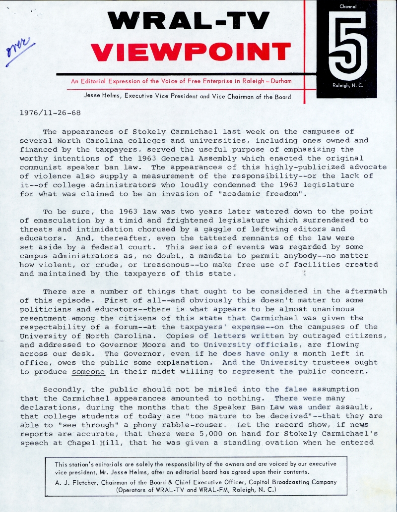 "This is an image of a transcript from the ""Viewpoints"" editorial program of November 26, 1968 explaining the conservative viewpoint of Mr. Helms regarding the appearance of ""Black Power"" activist Stokely Carmichael at the University of North Carolina at Chapel Hill."