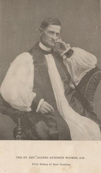 """Photograph of Rev. Alfred Augustin Watson, first bishop of the Episcopal Diocese of East Carolina. Date approximated [1884-1904]."" Presented in the Digital Collection at East Carolina University."