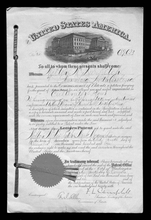 "This certificate is for U.S. Patent 689,623, granted in 1901 to Milton M. Rich, of Laurinburg, and Mark Morgan, of Laurel Hill, for an ""improvement in a cultivator/plows."" Image courtesy of the North Carolina Museum of History."