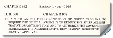 "1963 Session Laws, Chapter 932.""An act to amend the Constitution of North Carolina to require the General Assembly to reduce the State Administrative Department to 25 and to authorize the Governor to reorganize the administrative departments subject to legislative approval."""