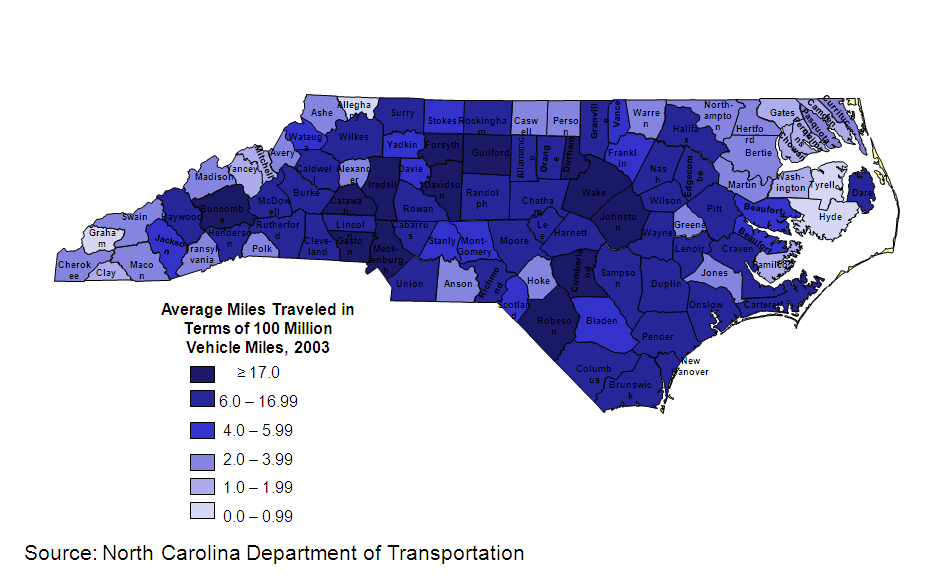Vehicle Miles traveled per county, 2003