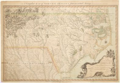 "(Click to see larger). ""A Compleat map of North-Carolina from an actual survey,"" 1770. John Collett. Image courtesy of North Carolina Maps, UNC Libraries."