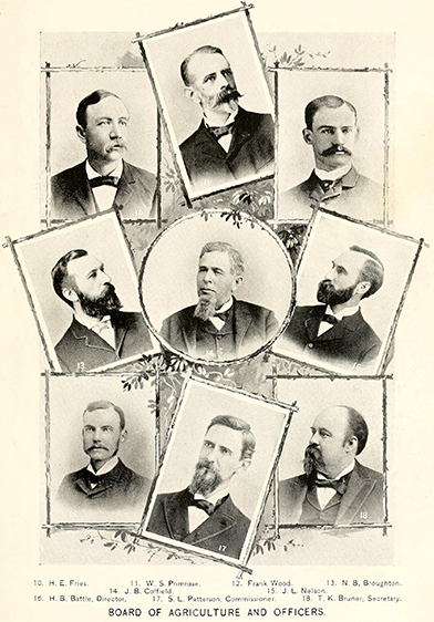 Portraits of some of the members of the N.C. State Board of Agriculture, 1896. Image from the North Carolina Digital Collections.