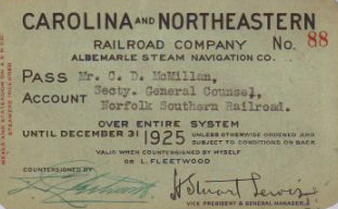 Boarding Pass for the Carolina and Northeastern Railroad Co. and the Albermarle Steam Navigation.