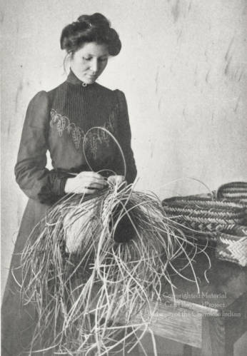 Arizona Swayney, a Cherokee student at Hampton Institute, making a basket, ca 1890s.