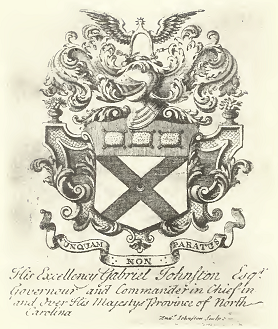 The bookplate of Governor Gabriel Johnston, showing his coat of arms.