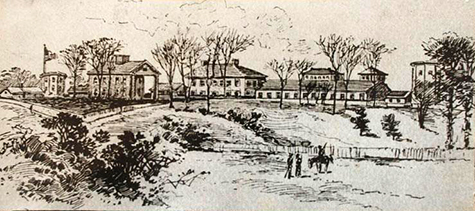 Sketch of the Fayetteville Arsenal and Armory by a soldier in Sherman's army. Image from the North Carolina Museum of History.