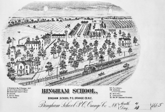 William Bingham's schools would eventually become the Bingham School under the leadership of his son. The buildings and grounds of Bingham School at Mebane as depicted in an engraving on the school's letterhead, 1885. North Carolina Collection, University of North Carolina at Chapel Hill Library.