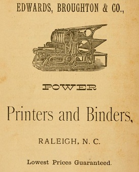 Advertisement for Edwards, Broughton & Co. in their Directory of the City of Raleigh, North Carolina, 1887.