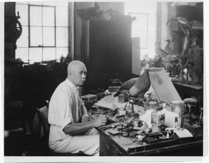 Herbert Hutchinson Brimley, a founder of the Academy of Science, working in the Museum of Natural History, ca. 1937. Image courtesy of the State Archives of North Carolina.