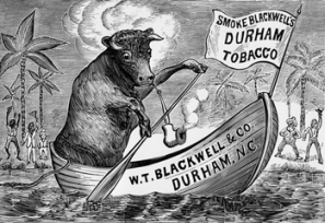 An 1879 advertisement for Durham's W. T. Blackwell & Co. features the company's trademark bull, used to popularize its tobacco products. North Carolina Collection, University of North Carolina at Chapel Hill Library.