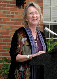 Kathryn Byer accepting an award at the NC Literary Hall of Fame. Image from Flickr user -ted/twbuckner.