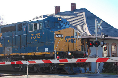 CSX engine at Union Station in Aberdeen, N.C. on December 2, 2010. Image from Flickr user Donald Lee Pardue.