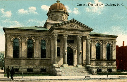 Postcard of the Charlotte Carnegie Free Library, circa 1910.