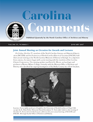 The January 2007 issue of Carolina Comments. Image from the North Carolina Digital Collections.