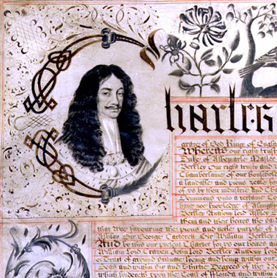 Close up of the Carolina Charter of 1663, featuring a portrait of King Charles II of England. Image from the North Carolina Digital Collections.