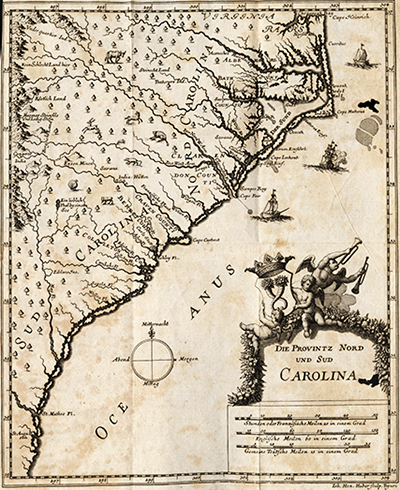 'Die Provintz Nord und Sud Carolina (The province of North and South Carolina),' a German map from 1711, and one of the earliest to show North and South Carolina as different regions. Image from NC Maps.
