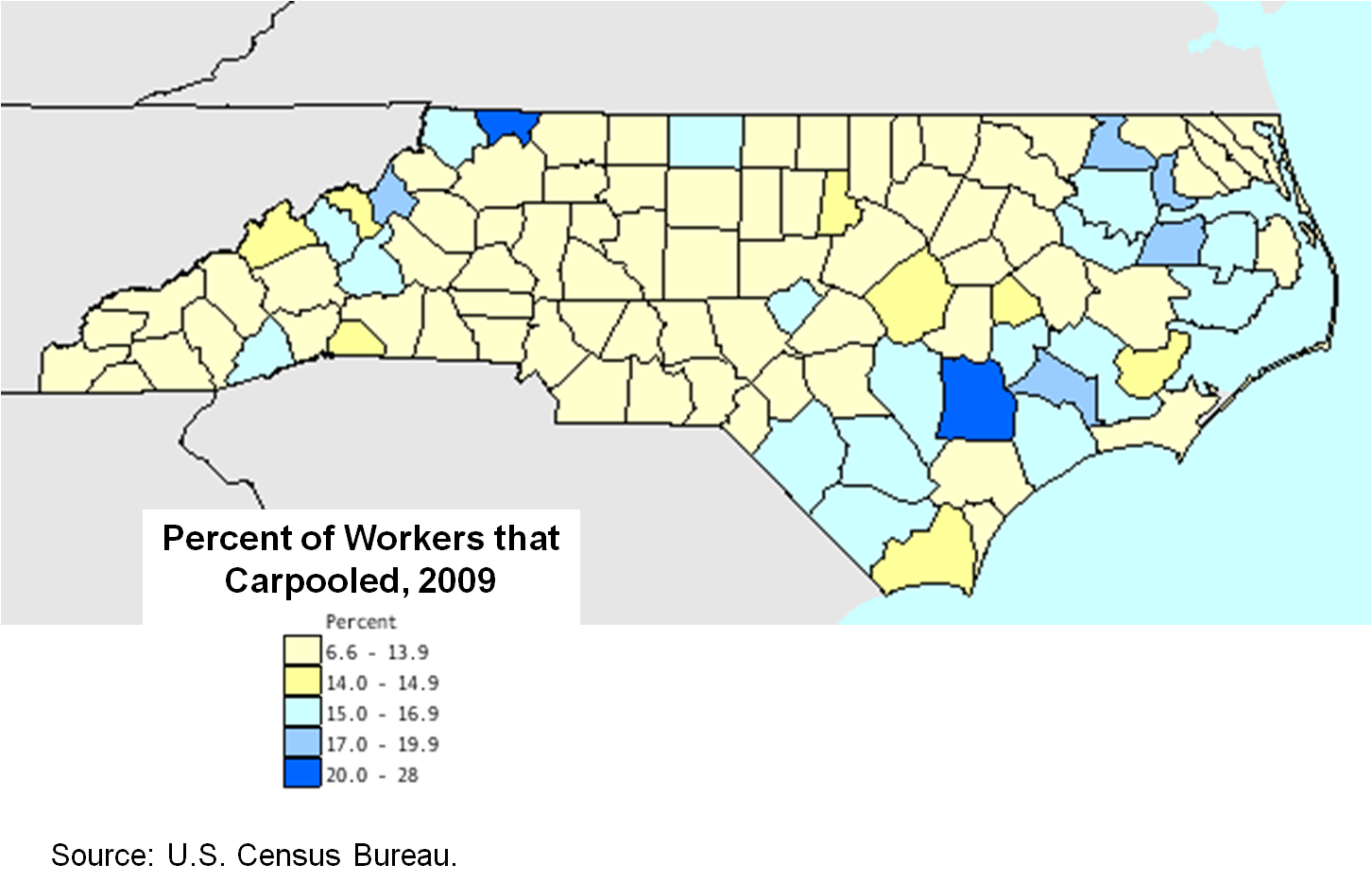 Carpooled to work by county, 2009
