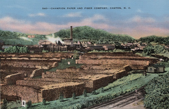 Postcard circa 1935-1945 of the Champion Paper and Fibre Company, Canton, N.C.
